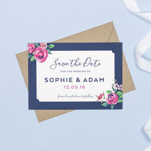 Adela Navy And Pink Floral Save The Date Card