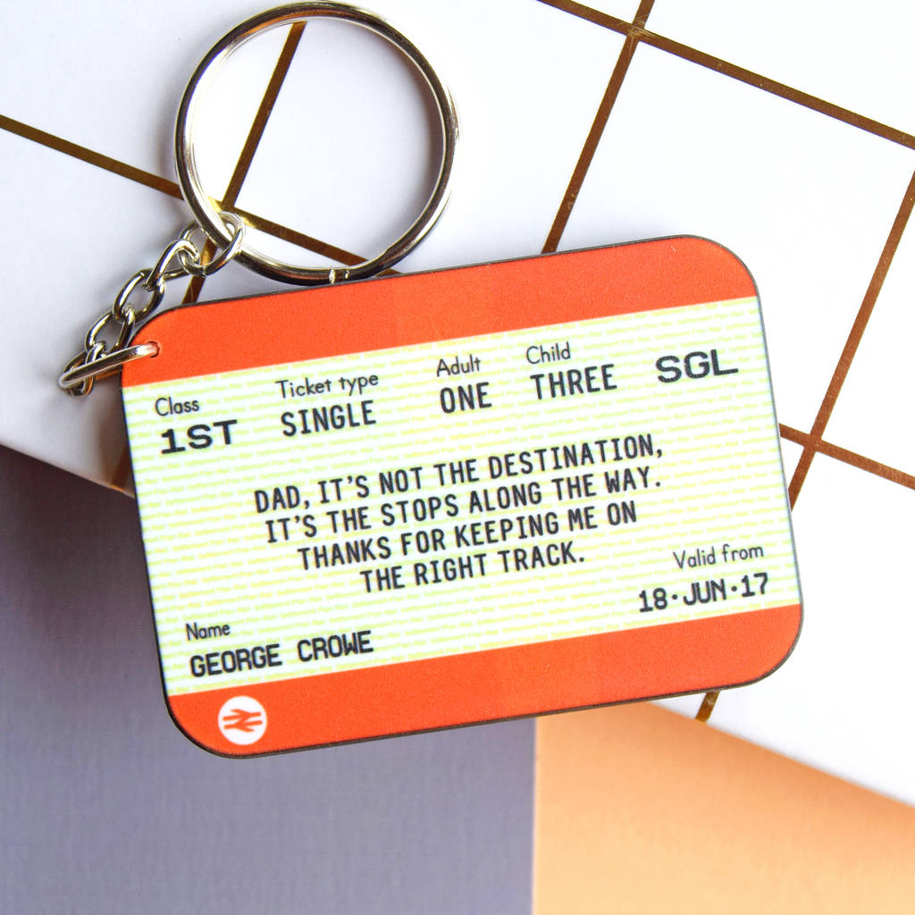 personalised train ticket keyring gift for dad by of life   lemons ... 81df78465c