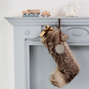 Personalised Faux Fur Baby's First Christmas Stocking - christmas