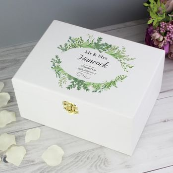 Personalised Botanical Wooden Wedding Keepsake Box