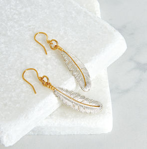 Silver Feather Earrings - earrings