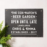 Personalised 'Beer Garden' Slate Sign - home