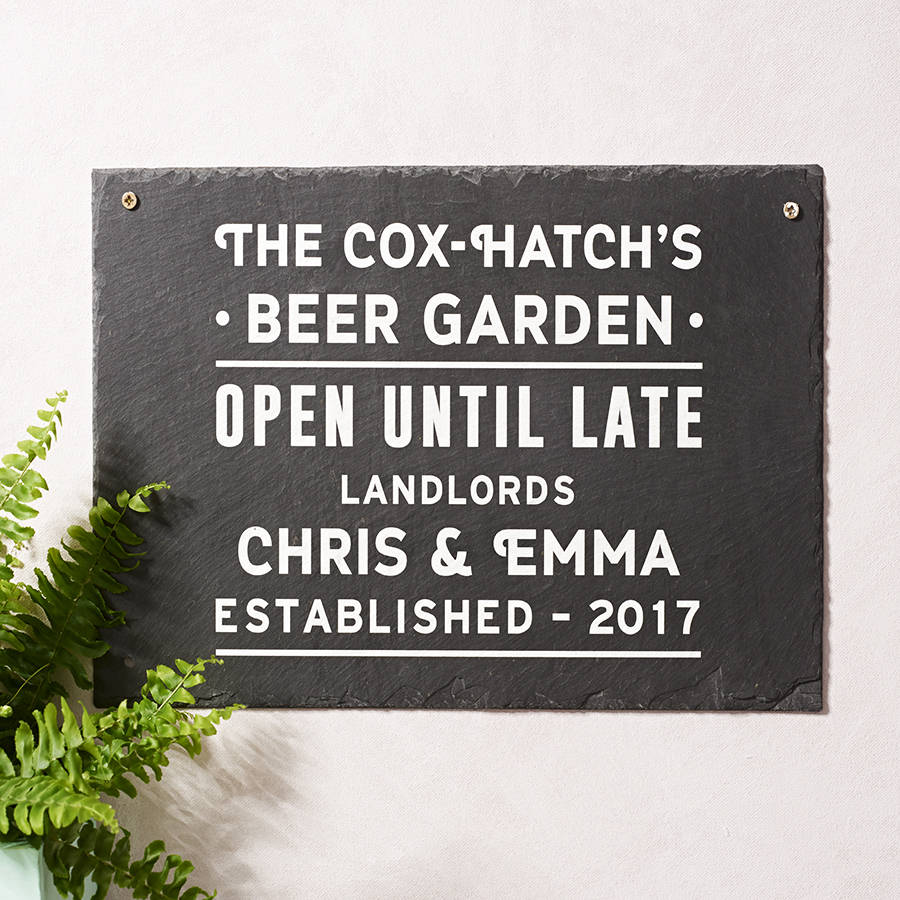 Personalised Beer Garden Slate Sign By Oakdene Designs