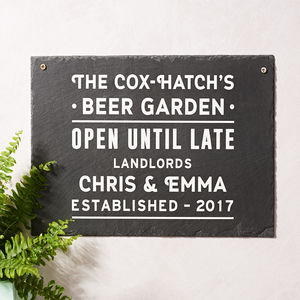 Personalised 'Beer Garden' Slate Sign - 50th birthday gifts