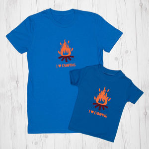 Camping Dad And Child T Shirt Set