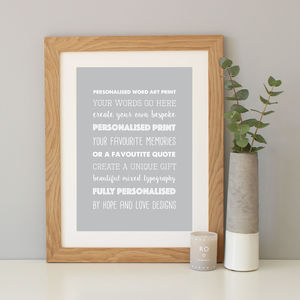Personalised Mixed Typography Print