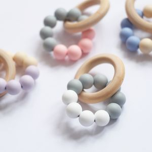 Silicone Beaded Wooden Teething Ring - stocking fillers for babies & children