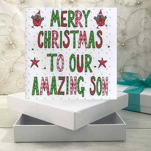 Personalised Son Christmas Book Card