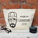 Personalised Cream Canvas Dapper Dude Washbag
