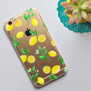 Clear Phone Case With Lemons Print - tech accessories for her