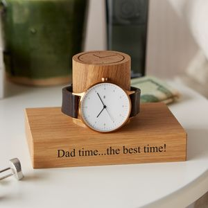 Personalised Gent's Solid Oak Watch Stand - 5th anniversary: wood