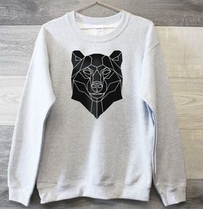 Graphic Print Sweater With Geometric Bear