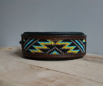 Genuine Leather Hand Stitched Bead Work Dog Collar