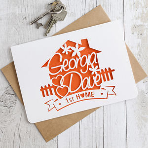 New Home Paper Cut Card - new home cards