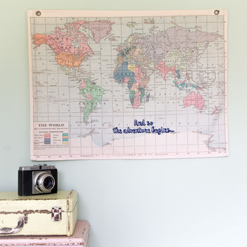 And So The Adventure Begins Hanging Vintage Map