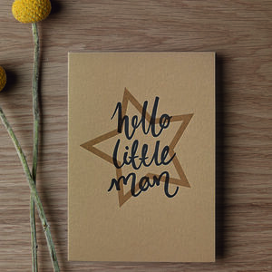 'Hello Little Man' Letterpress Card