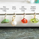 may chrysoprase, june pearl, july carnelian, august peridot birthstone chips