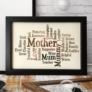 Metallic Personalised Word Cloud Print - new lines added