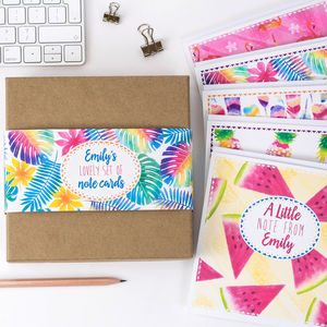 Personalised Gift Box Set Of Tropical Note Cards