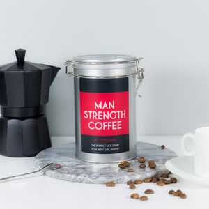 'Man Strength' Personalised Coffee Gift Tin