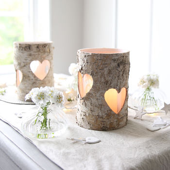 Heart Birch Bark Tealight Holder