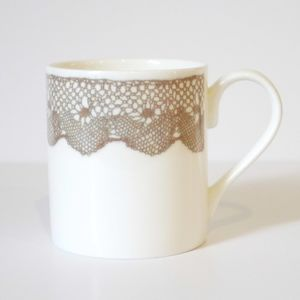 Bone China Mug With Lace Design - cups & saucers