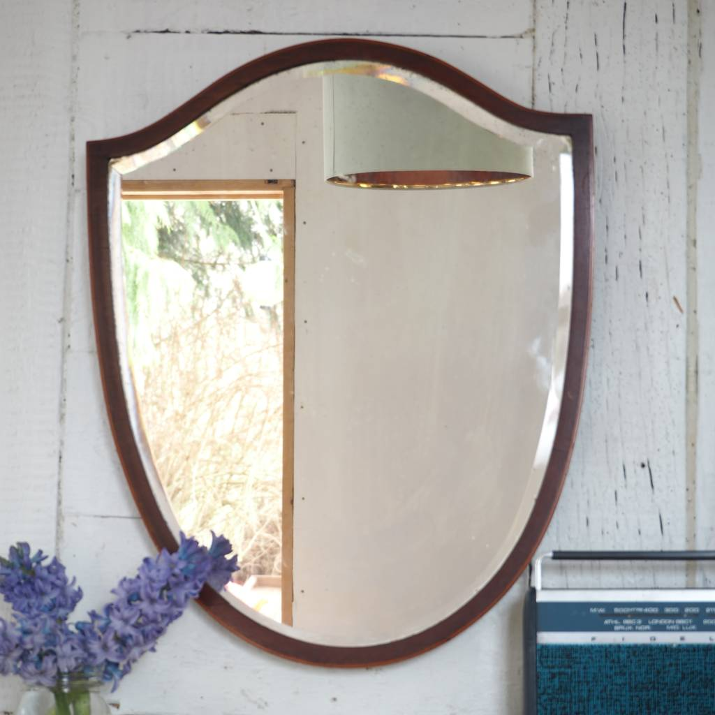 vintage mirror/ mahogany mirror/ shield mirror by alpha fleur | notonthehighstreet.com