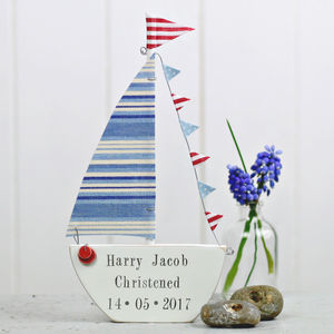 Personalised Blue Sailing Boat For Newborns