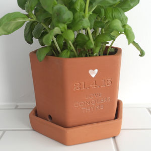 Personalised Love Conquers Thyme Hexagonal Pot