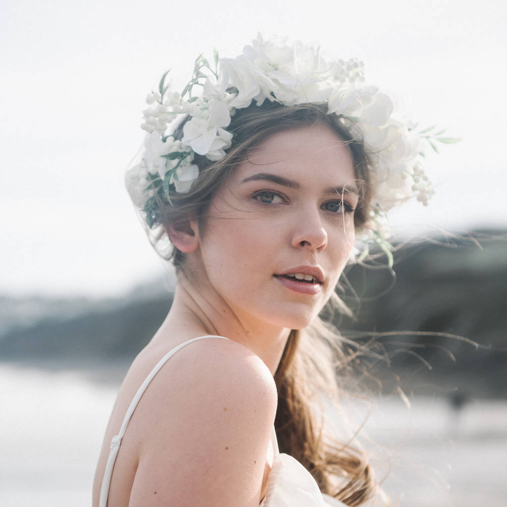 Ivory Flower Crown Halo With Berries Rosenwyn By Holly Young