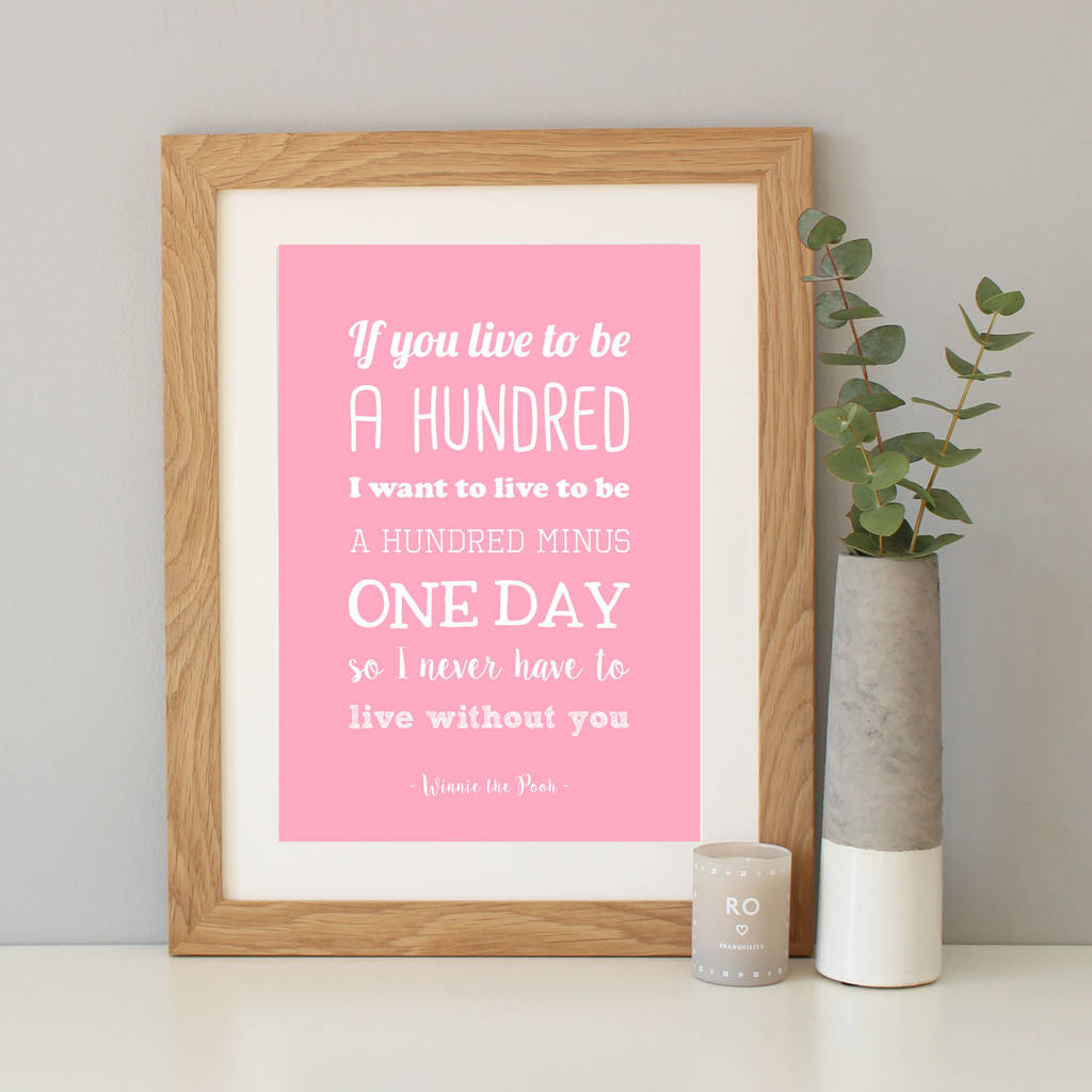 winnie the pooh anniversary gift quote print by hope and love ...