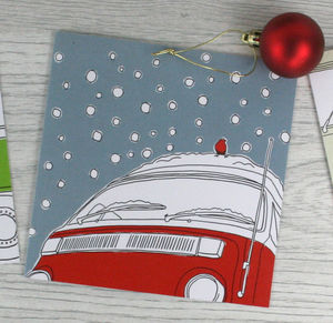 Campervan Christmas Card 'Snowed In' - seasonal cards