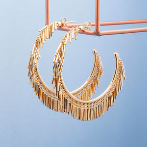 Gold And Silver Tassel Fringe Hoop Earrings - earrings