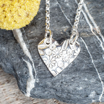 Silver Rounded Sunflower Print Heart Two Link Necklace