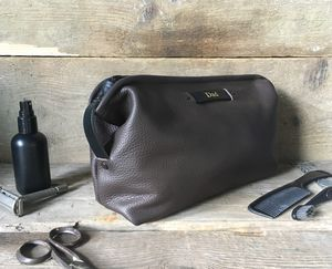 Personalised Dark Brown Leather Wash Bag