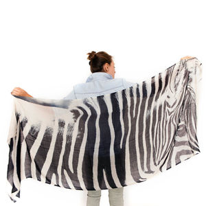 Womens Printed Cashmere Silk Scarf, Zebra - our top summer scarves