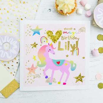 Personalised Girl's Unicorn Birthday Card 'Lilac'