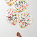 Pack Of Five Happy Birthday Confetti Filled Balloons