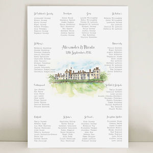Wedding Table Plan With Hand Drawn Venue Illustration - table plans