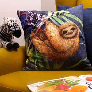 Cute Sloth Tropical Print Animal Cushion Gift