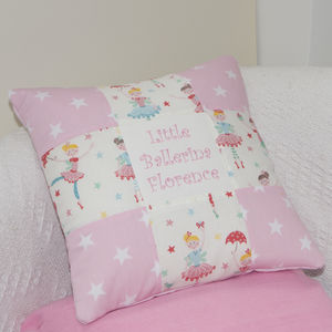 Pink Patchwork Ballerina Cushion