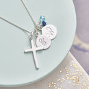 Silver Cross Birthstone Personalised Necklace - Sapphire and Aquamarine Birthstone