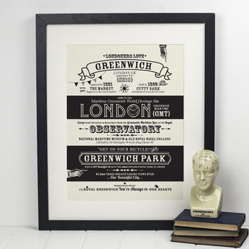 Greenwich, London Typography Location Print