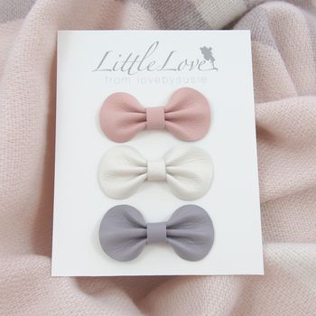 Little Love Leather Bow Hair Clip Set Pink And Grey