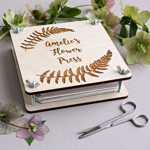 Personalised Engraved Botanical Flower Press
