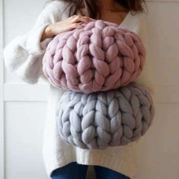 Pink and Grey Round Knit Chunky Cushion