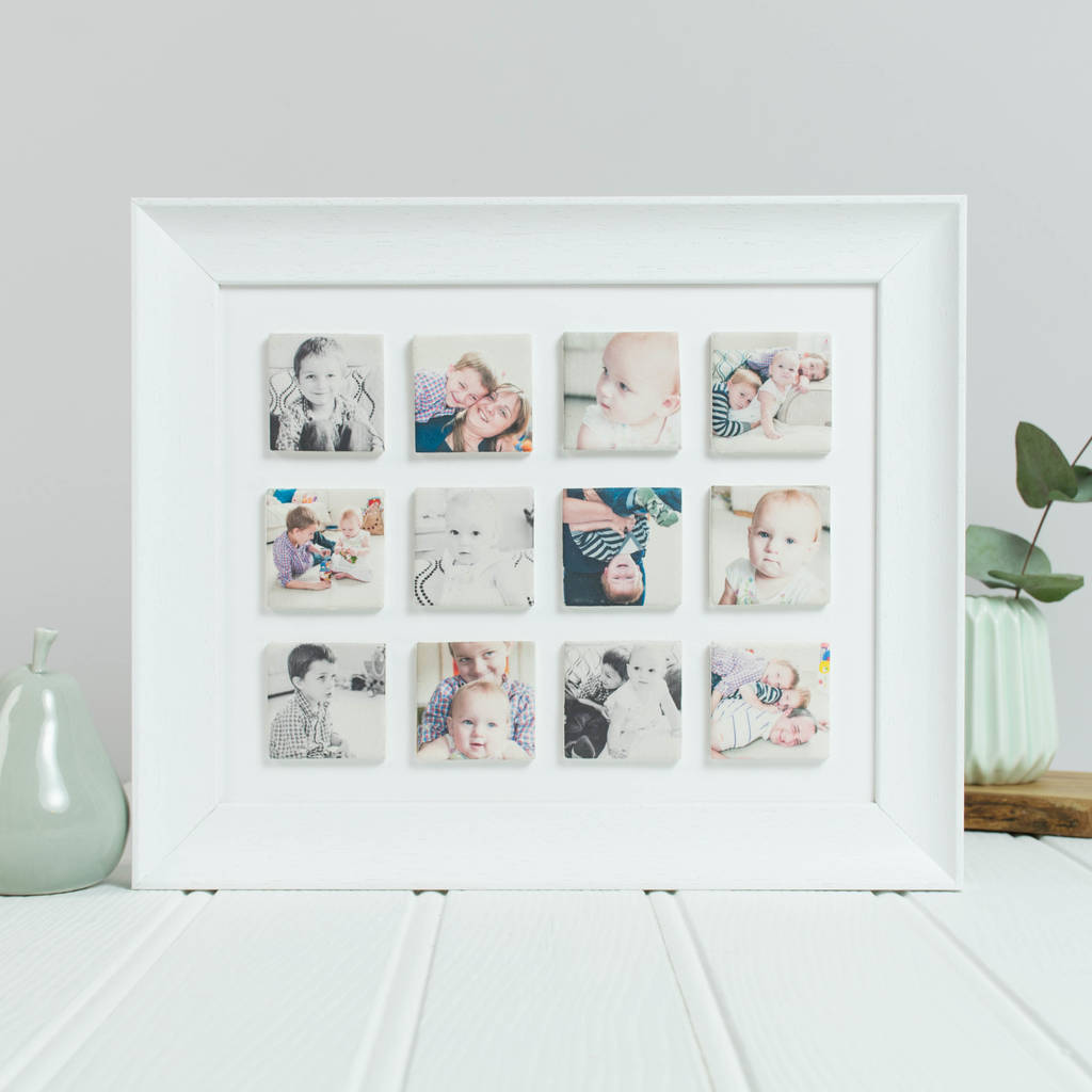 Periwinkle and Clay Personalised 'Our Family' Framed Clay Tile Photo Frame