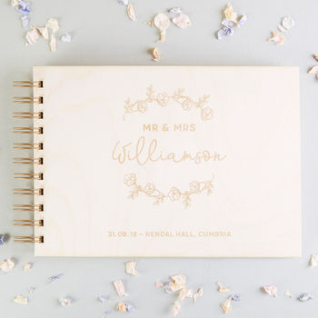 Personalised Floral Wooden Guest Book