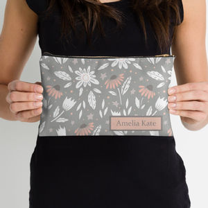 Grey And Blush Floral Make Up Bag