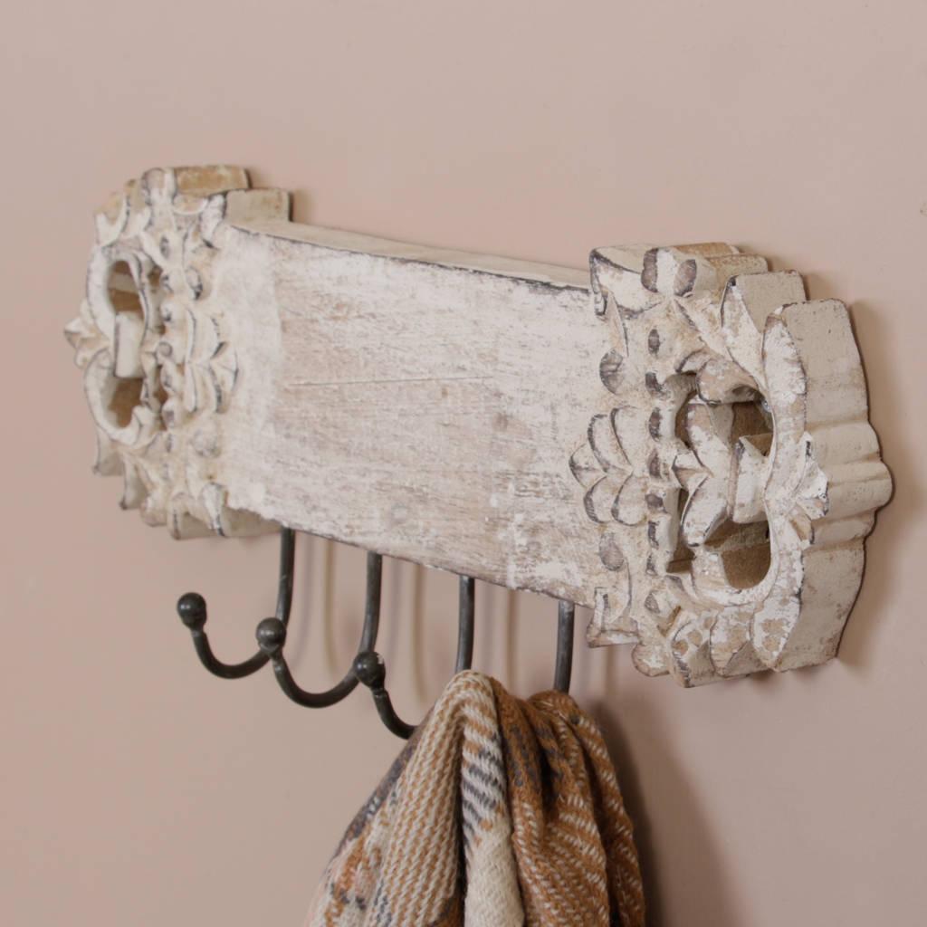Whitewashed Decorative Wall Mounted Coat Hooks By Dibor
